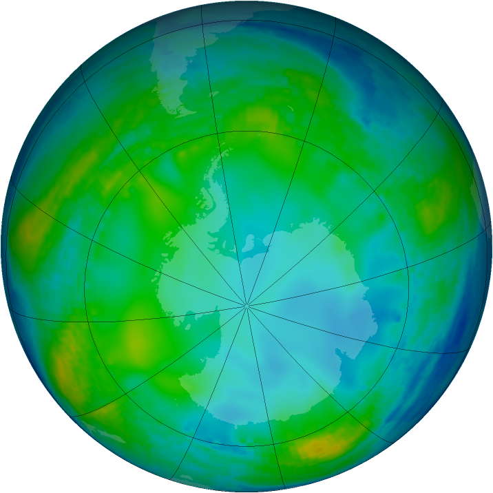 Antarctic ozone map for 07 June 2004
